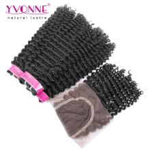Paquets de tissage de cheveux brésiliens avec fermeture