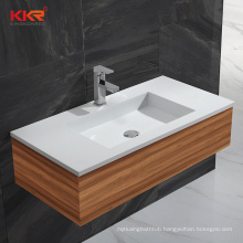 Popular Solid Surface Bathroom Vanity Cabinet Hotel Use Wash Hand Basin