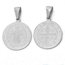 Venta al por mayor de acero inoxidable moneda personalizada religiosa metales encantos colgante