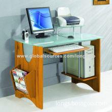 Ergonomic Glass Desk with Magazine Rack