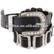 New Genuine Leather Belt With Rhinestones Buckle For Women