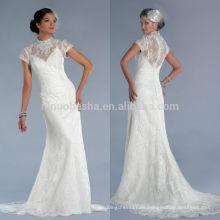 Neue Ankunft 2014 wulstige hohe Ausschnitt-Kappen-Hülsen-bloße überzogene Knopf-rückseitige Spitze-lange Meerjungfrau-Schwanz-Hochzeits-Kleid-Kleid NB0893