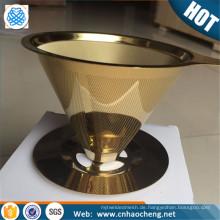 Edelstahl des Kaffeefilters 304 gießen über Kaffeetropfer