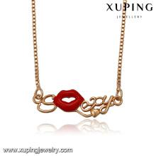 41630 accessoires de bijoux de mode en gros 18 k délicat mode lèvres rouges pendentif plaqué or bijoux collier