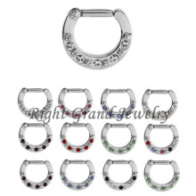 14G Crystal Clicker Nose Ring Piercing Jewelry Septum Nose Rings