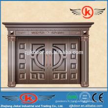 JK-C9013 villa porte principale design décoration imitation sécurité porte en cuivre