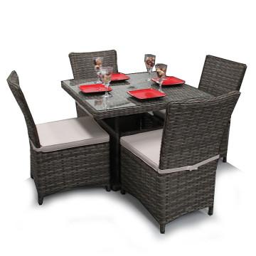 Vime jardim cadeira de jantar conjunto pátio ao ar livre mobiliário