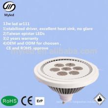 Brillance élevée 13w lee spotlight multi faisceau angle 30000hs longue durée de vie ar111 lampe