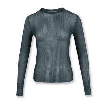 Sheer ribbed womens knit sweater see-through sexy pullover knitwear sweater plain pullover basic sweater