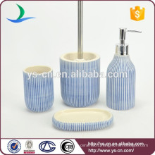 Hand paint blue ceramic bath set with inner glaze 4pcs