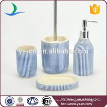 Mão pintura banho de cerâmica azul definido com esmalte interior 4pcs