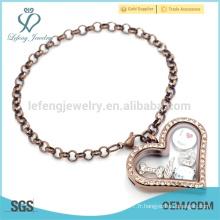 Prix de gros bracelet à la perle en chocolat, bracelet en coeur flottant