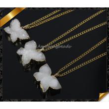 Am heißesten! Weinlese Art- und Weiseanhänger-Halskette weiße Farbe Druzy 24k Gold-hängende Halskette (CN013)