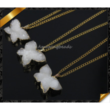 Самые горячие! ! Мода ожерелье белого цвета Druzy 24k золото кулон ожерелье (CN013)