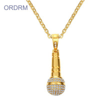 Mens Hip Hop Crystal Microphone Gold Colgante Collar