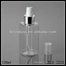 bouteilles en forme de carrés 120ml PET / bouteilles cosmétiques / bouteilles en plastique avec vaporisateur et bouchon en plastique