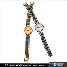 Reloj popular de la señora de la marca de fábrica Japón Movt reloj acero inoxidable negro