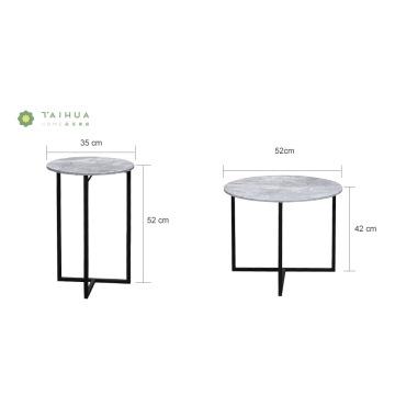 Tables basses rondes en marbre avec structure en métal