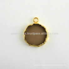 Wholesale Fine Quality Smoky Quartz Slice Gemstone Bezel Charm, Micron Gold Plated Sterling Silver Bezel Connector and Charm