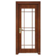 Diseño clásico simple con la ventana de cristal Puerta de madera sólida