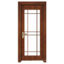 Simple Classic Design with Glass Window Solid Wooden Door