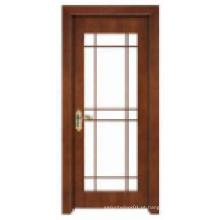 Design clássico simples com janela de vidro Porta de madeira maciça