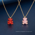 European American Fashion Jewellery Jewelry Black Red Pink White 3D Diamond Bear Pendant Clavicle Chain Thin Chain Necklace for Women