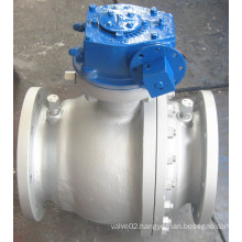 Manual Operated Gearbox Flanged Floating Cast Steel Ball Valve