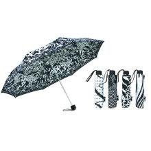 Paraguas compacto de aluminio blanco y negro (YS-3FM21083937R)