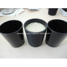 Mat/Gloss Black Glass Jar Candle