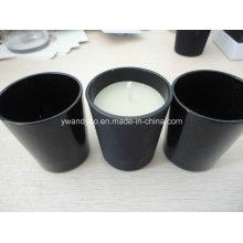 Vela de jarra de vidro preto fosco / brilhante