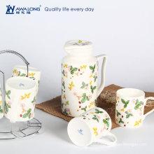 professional custom porcelain Japanese tea pot for sale / caff use bone porcelain tea set with mugs