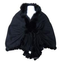 Lady Fashion Black Wool Knitted Shawl (YKY4142-1)