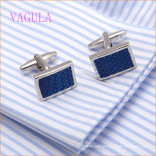 VAGULA Fashion Rhodium Plated Copper Blue Painting Round Cufflink
