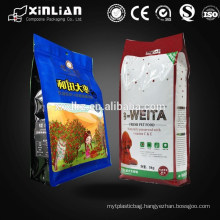 Plastic flat bottom quad seal packaging bag for food packaging