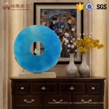 Escultura azul transparente de la resina de la decoración casera del lujo