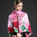 Pink Digital Printing Silk Schal Schal mit Knöpfen