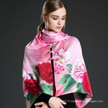 Echarpe en soie rose et châle en soie avec boutons