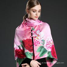 Xale cor-de-rosa de impressão digital xale de seda com botões