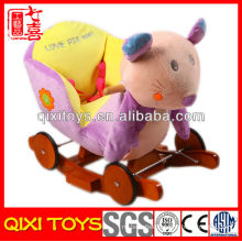 New design cute gift plush mouse rocking chair with wheels