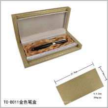 Caixa de conjunto de caneta com logotipo gravado a laser pesado dourado elegante caixa dourada