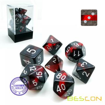 Bescon Mineral Rocks GEM VINES Polyédric D & D Dice Ensemble de 7, RPG Role Playing Game Dice 7pcs Ensemble de RUBY