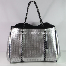 Top for Beach Bag Summer Logo custom silver metal color beach bag export to Indonesia Manufacturers