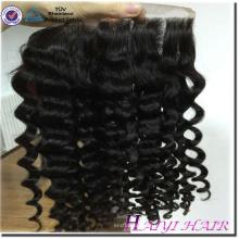 Usine prix de gros 100% vierge brésilienne 13x6 bouclés dentelle frontale cheveux