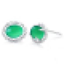 Women′s 925 Sterling Silver Fashion Elegant Natural Green Crystal Earrings