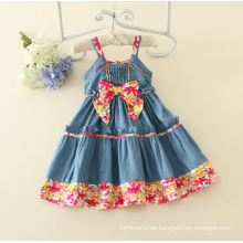 Spaghetti Strap Mädchen ein Stück Kleid Baby Mädchen s Charming Denim Sommer Baumwolle Sleeveless Floral Casual Mädchen Kleid Baby Kleid