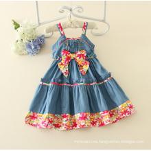 Correa de espagueti niña de una pieza vestido de niña s denim encantador de algodón de verano sin mangas floral vestido de las muchachas ocasionales del bebé