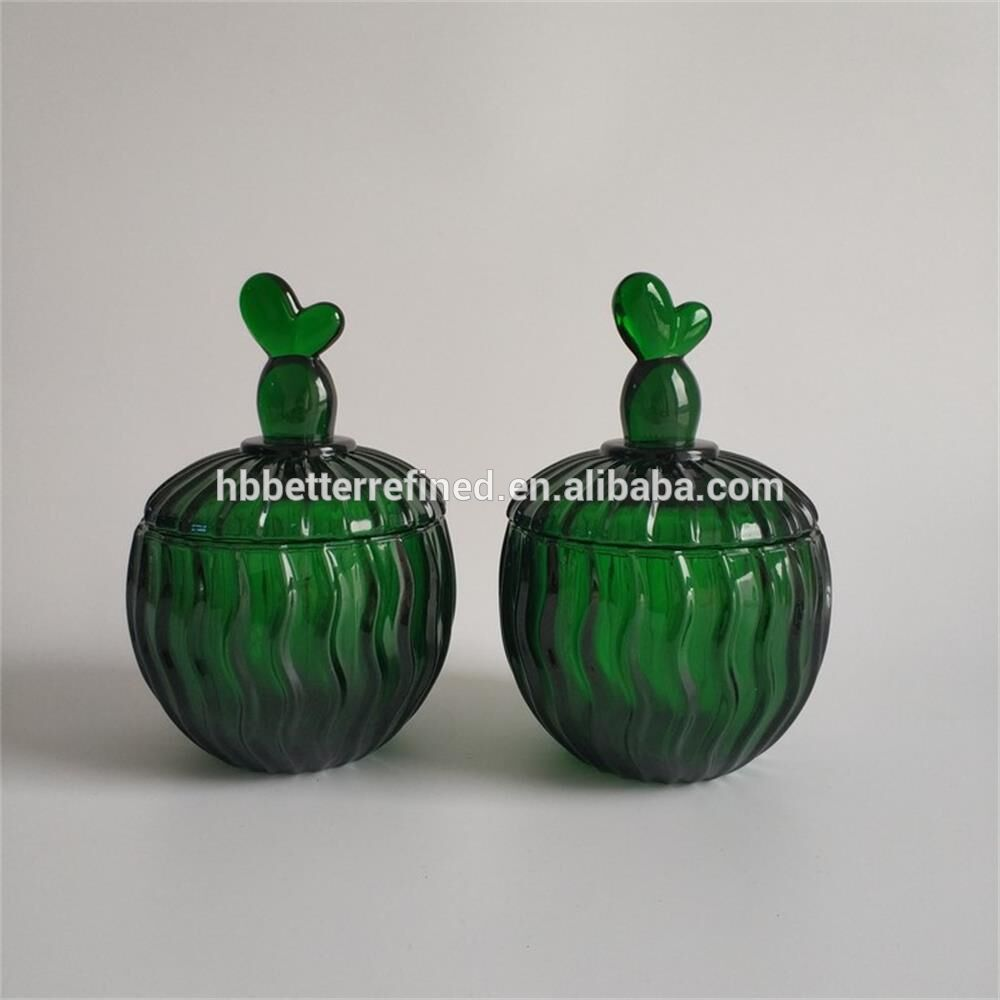 Elegant Green Glass Cactus Cookie Jar3