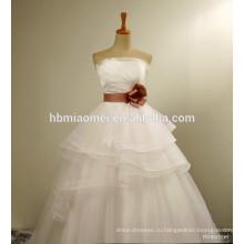 Свадебное платье a-линия плюс Размер без бретелек кружева с аккуратным простым слоистых бальное платье с поясом невесты свадебное платье 2017