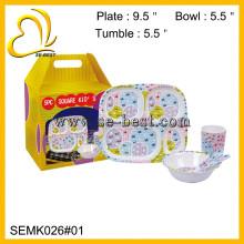 vajilla de melamina para niños; juego de cena de melamina para niños